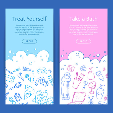Vector vertical web banner templates with hand drawn doodle bathroom elements and place for text Vettoriali