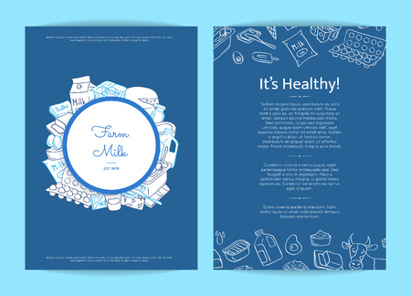 Vector card or flyer template illustration with hand drawn dairy elements Illustration