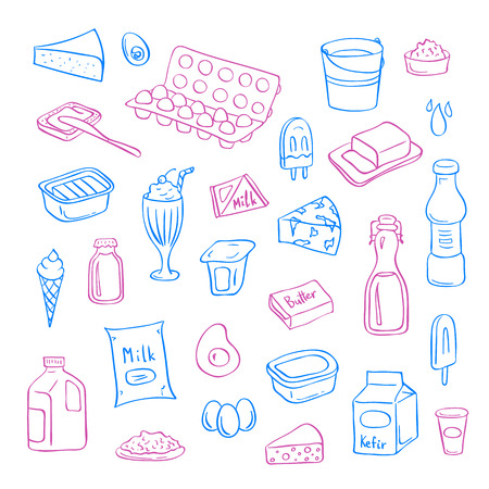 Vector hand drawn dairy elements set isolated on white background Illustration