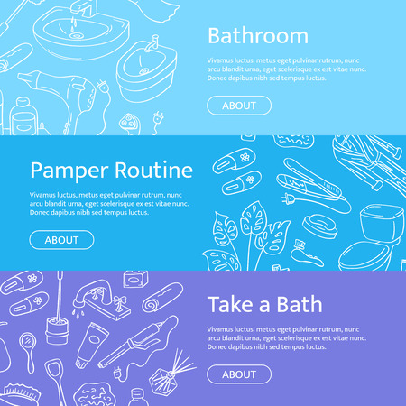 Horizontal web banner templates with hand drawn doodle bathroom elements.
