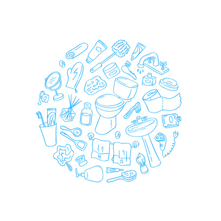 Hand drawn doodle bathroom elements in round shape isolated on white background illustration.