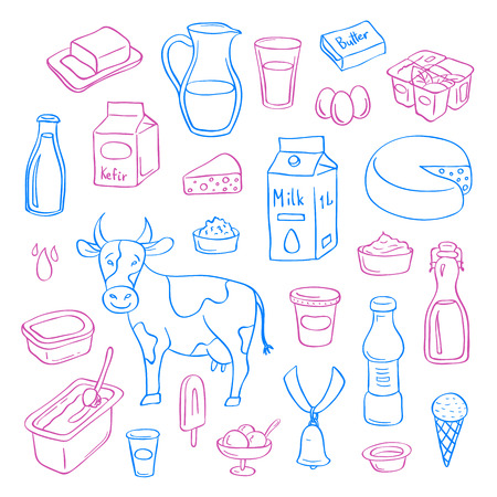 Hand drawn dairy elements set isolated on white background.