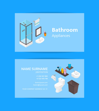 Vector business card template for bathroom appliances and furniture shop or bath accessories. Isometric shower cabine, skincare tubes 3d objects
