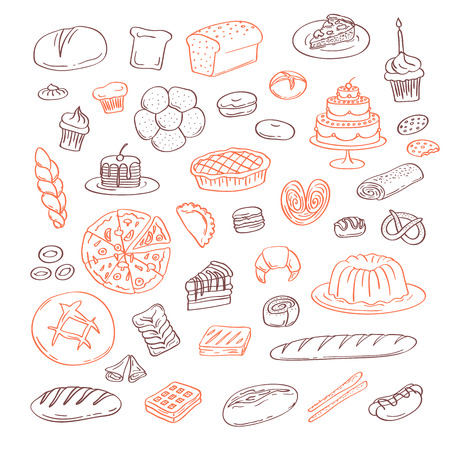 Vector hand drawn doodle bakery elements set isolated on white background