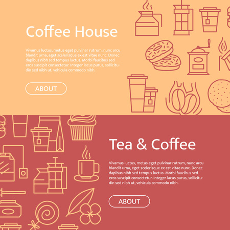 Vector tea and coffee linear icons horizontal web banner templates illustration