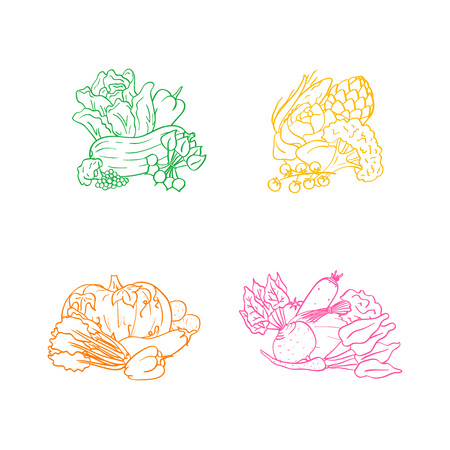 Vector hand drawn doodle vegetables icon piles set isolated on white background illustration Stock Photo