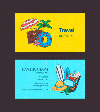 Hand drawn colored beach objects. Vector summer travel doodle elements business card template illustration for travel agency or beach accessories shop Çizim