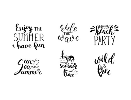Vector summer lettering phrases set for postcards and posters isolated. Handwriting calligraphy hand drawn writing set with design elements and logo Çizim