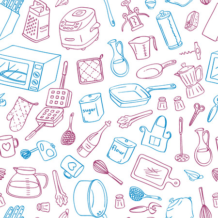 Vector kitchen utensils doodle icons background with place for text illustration