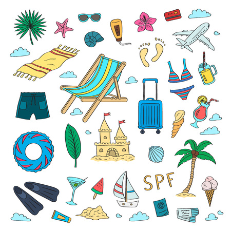 Set of hand drawn colored beach objects. Vector summer travel doodle elements collection with lettering background illustration