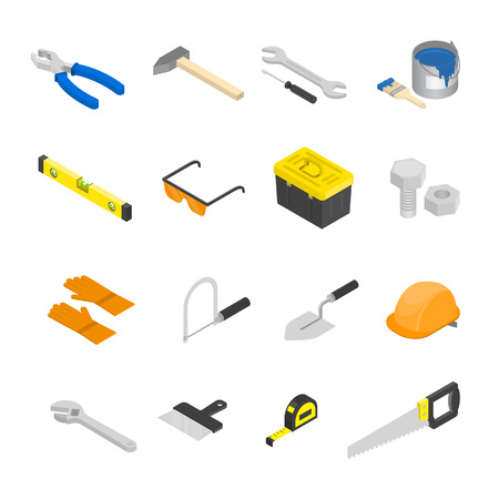 Vector isometric construction tools set. House remodeling equipment in isometry. Repair and building instruments. Çizim