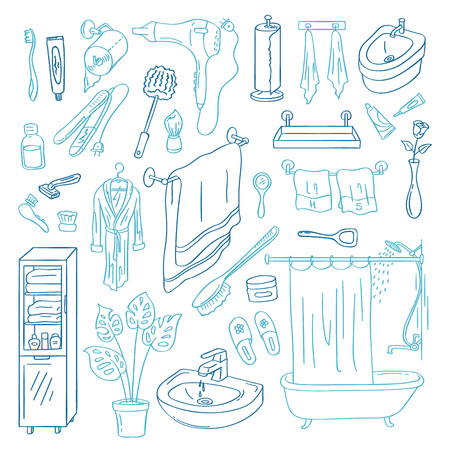 Vector hand drawn doodle bathroom elements set isolated on white background