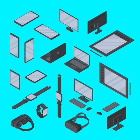 Vector set of isometric gadgets technology isolated. Smart watch, graphic tablet, smartphone, VR glasses and other devices from different angles Çizim