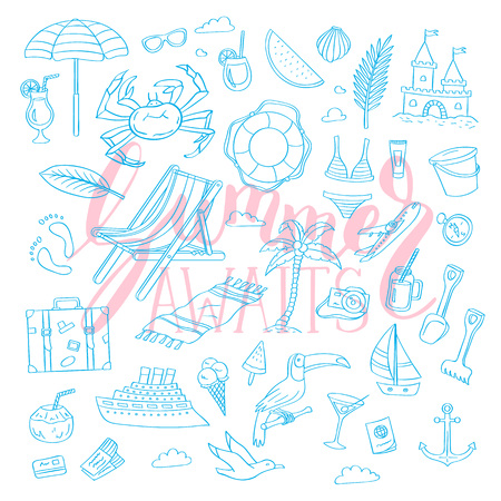 Set of hand drawn monochrome beach objects. Vector summer travel doodle elements collection with lettering background illustration