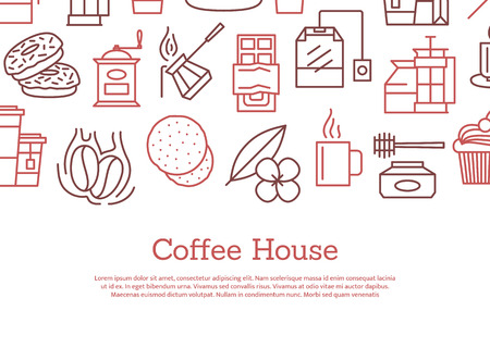 Vector tea and coffee linear icons background with place for text illustration