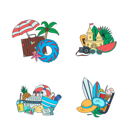 Set of piles of hand drawn colored beach objects. Vector summer travel doodle elements illustration