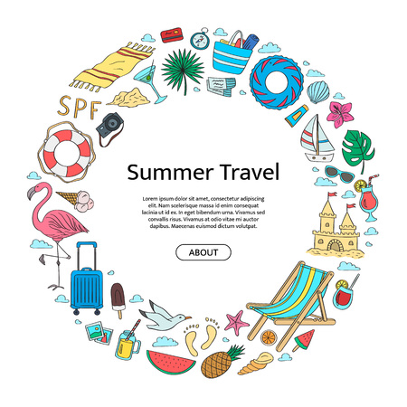 Hand drawn colored beach objects in circle shape with place for text in center. Vector summer travel doodle elements background illustration