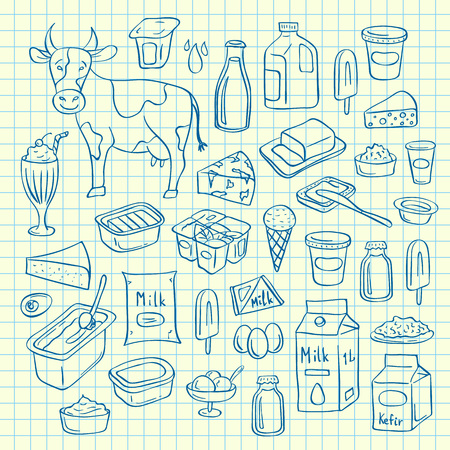 Vector set of hand drawn dairy elements on blue cell sheet illustration Stok Fotoğraf