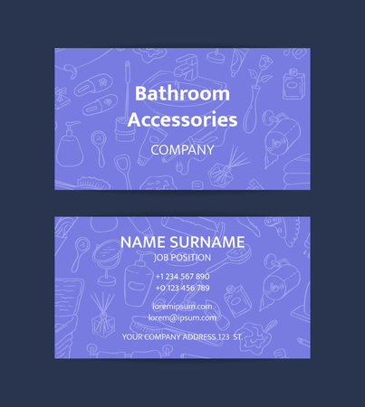 Vector business card template with hand drawn doodle bathroom elements for bathroom accessories shop