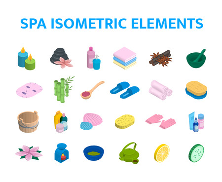 Vector isometric icons spa elements set. 3d realistic spa and massage salon objects collection. Candles, skincare, facial mask, aromalamp and bamboo Çizim