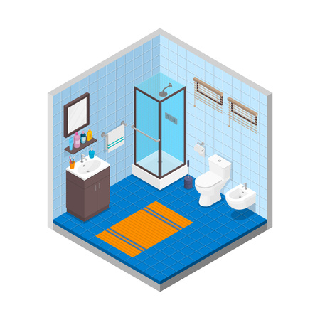 Vector bathroom isometric design interior template. Room with tiles rug bathtub toilet bowl bidet trashcan windows skincare cosmetic and towel illustration Çizim