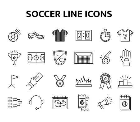 Vector soccer line icons set. European football elements isolated illustration. Football championship cup, gate, field, medal and tickets objects