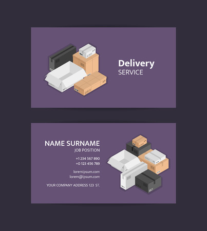 Vector pile of isometric boxes business card template. Black, white, beige mail shipping box templates for logistics or shipping delivery service