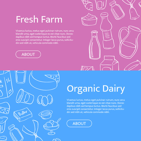 Vector horizontal web banner templates with hand drawn dairy elements Çizim
