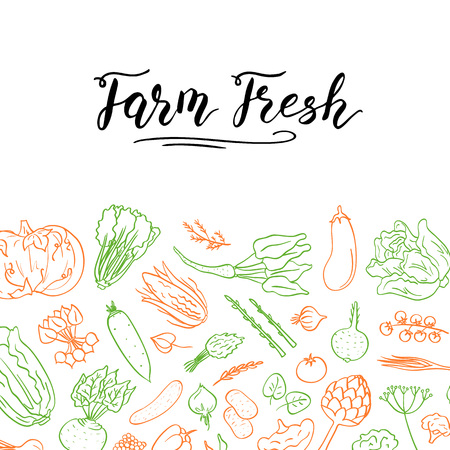 Vector hand drawn doodle vegetables icons background with place for text illustration