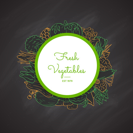Vector hand drawn doodle vegetables icons under sircle with place for text on black chalkboard background illustration