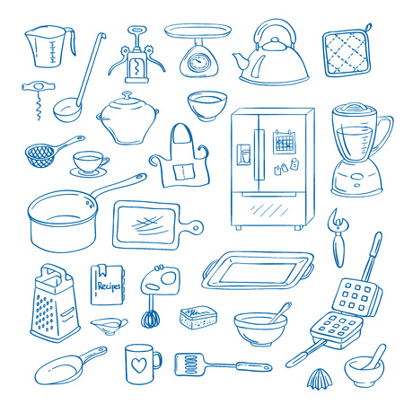 Vector hand drawn kitchen utensils doodle icons set illustration Çizim
