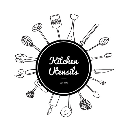 Vector kitchen utensils doodle icons under circle with place for text and shadows Çizim