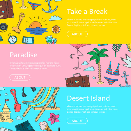 Hand drawn colored beach objects horizontal web banners. Vector summer travel doodle elements illustration with place for text