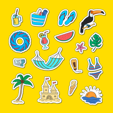 Set of hand drawn colored beach objects stickers. Vector summer travel doodle elements illustration