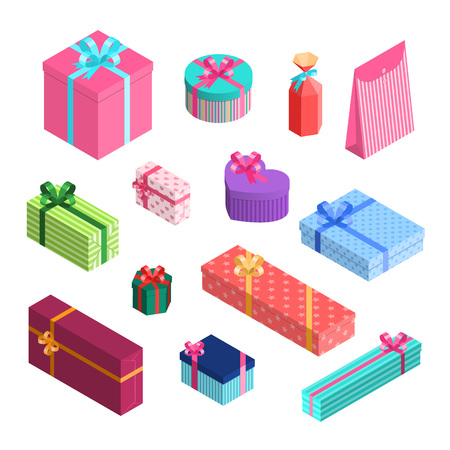 Vector isometric gift boxes set with ribbons and bows in wrapping paper. Presents packaged in wrapping textured paper with stripes, stars and hearts