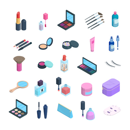 Vector isometric makeup elements set. 3d dimension icons of cosmetics and skincare. Eyshadow, blush pallete, face powder, cushion foundation cosmetics