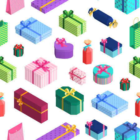 Vector isometric gift boxes pattern or background with ribbons, bows. Presents in wrapping paper paper with stripes, stars and hearts