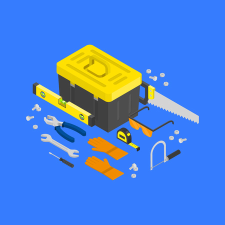Vector isometric construction tools around toolcase concept. House remodeling equipment in isometry. Repair and building instruments.