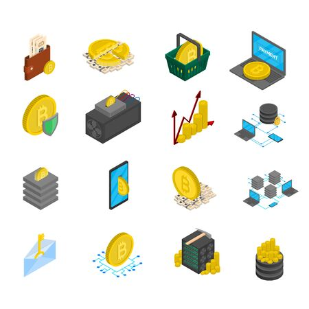 Vector isometric blockhain and cryptocurrency icons set. Cryptocurrency bitcoin business online payment transactions. 3d mining farm, asic, analysis equipment