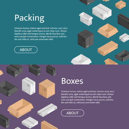 Vector horizontal web banners with isometric boxes of different color. Black, white, beige mail shipping box flyer templates for logistics service