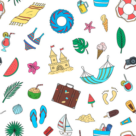 Hand drawn colored beach objects. Vector summer travel doodle elements pattern or background illustration Çizim