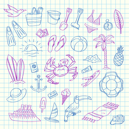Set of hand drawn colored beach objects on blue cell sheet background isolated. Vector summer travel doodle elements illustration