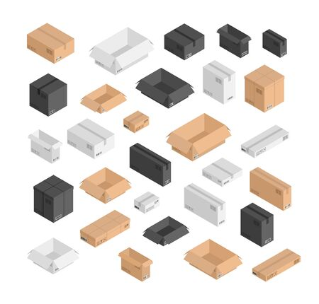Vector different size isometric boxes set. 3d open and closed black, beige, white mail shipping boxes with bar codes. Small, big, long ,short box