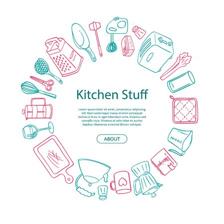 Vector kitchen utensils doodle icons in circle shape with place for text in center illustration
