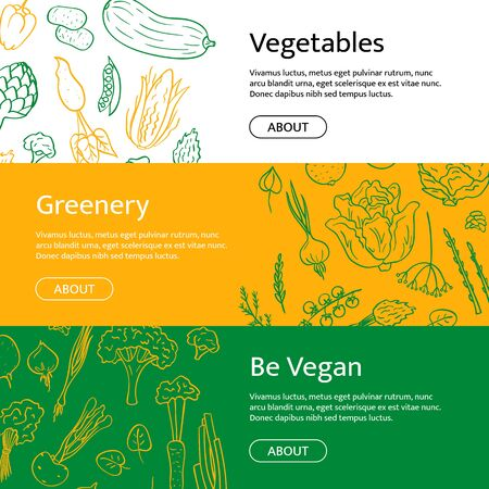 Vector hand drawn doodle vegetables icons horizontal web banner templates with place for text illustration Çizim