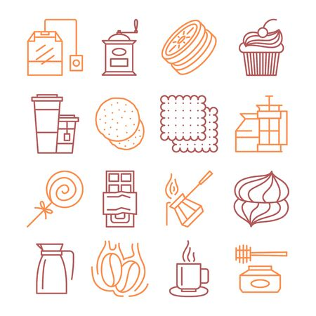 Vector tea and coffee linear icons set illustration