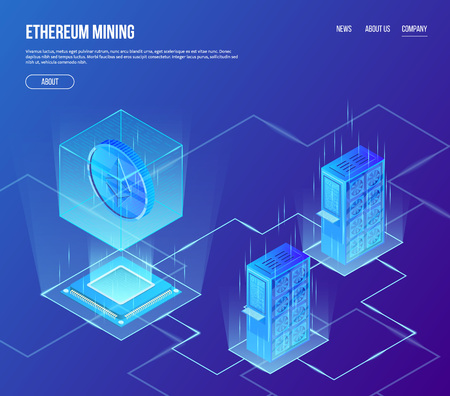 Vector isometric concept of ethereum blockchain mining. Crypto currency ethereum coin in transparent cube above processor with mining servers