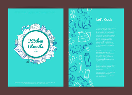 Vector kitchen utensils doodle icons card or brochure template illustration. Kitchen appliances objects. Kitchenware and home accessories elements Çizim