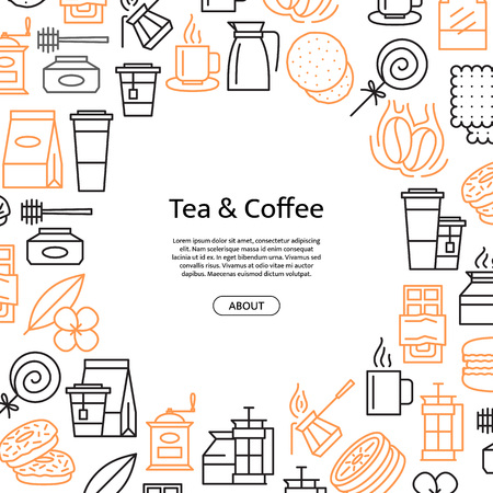 Vector tea and coffee linear icons background with place for text illustration. Coffee house or shop related objects. Tea theme objects.
