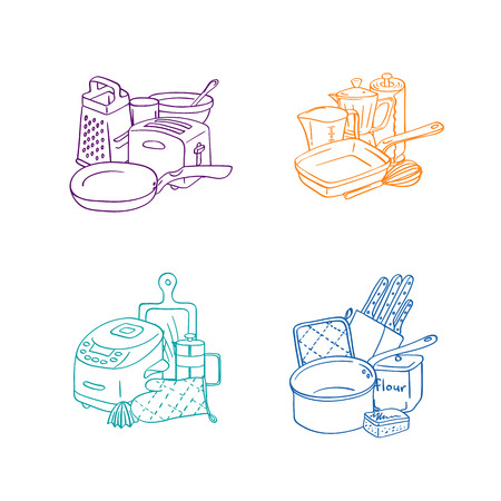 Vector kitchen utensils doodle icon piles set isolated on white background. Kitchen appliances objects. Kitchenware and home accessories elements